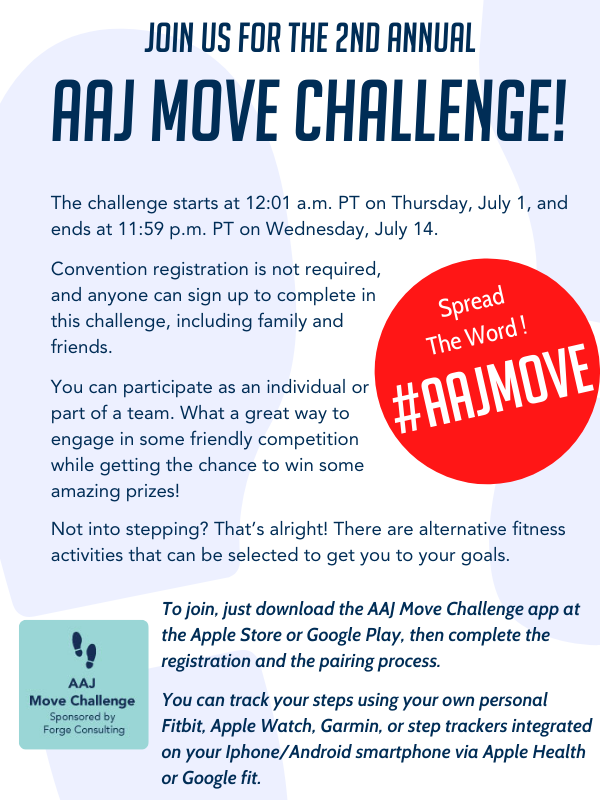 Win amazing prizes! The challenge starts at 12:01 a.m. PT on Thursday, July 1, and ends at 11:59 p.m. PT on Wednesday, July 14.  Convention registration is not required, and anyone can sign up to complete in this challenge, including family and friends. DOWNLOAD THE APP, AND LEARN MORE AT THE MOVE CHALLENGE WEBSITE